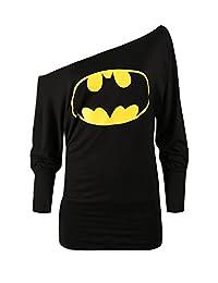 Oops Outlet Women's Superman Batman Comic Hero Batwing Off Shoulder Slouch Top