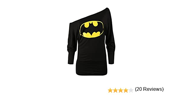 b121a4d404d Oops Outlet Women s Superman Batman Comic Hero Batwing Off Shoulder Slouch  Top Plus Size (US 12 14) Black  Amazon.ca  Clothing   Accessories