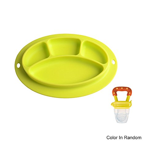 Sealive Soft Flexible Silicone Food Tray Dinner Mats Round Silicone Suction Placemat for Babies+ 1pc Fresh Food Nibbler Infant Fruit Teething Teether,BPA Free Silicone Pouches for Toddlers&Kids ()