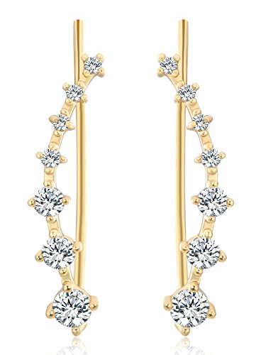 [M-Tree Women's Cubic Zircon Crystal Ear Cuff Hook Earrings Sweep Wraps Stud Earring Pins (1 Pairs) Color] (Martini Costume Halloween)
