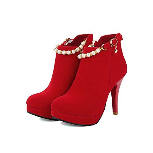 AllhqFashion Damen Rein Stiletto Rund Zehe Mattglasbirne Reißverschluss Stiefel mit Juwelen Rot