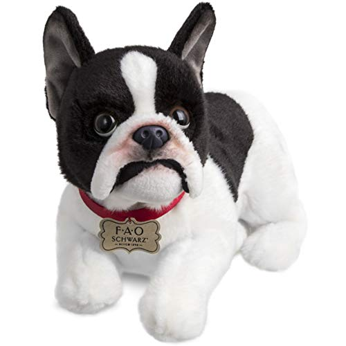 FAO Schwarz French Bulldog Puppy Dog Toy Plush 10 Inches, Ultra Soft and Snuggly Doll for Creative and Imagination Play, for Boys, Girls, Children Ages 3 and Up, Playroom & Nursery Pretend Pet -