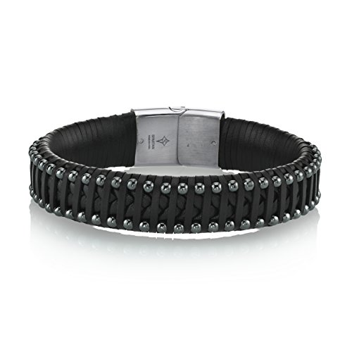 Mens Spartans Leather - SPARTAN Men's 8 Inch Long Hermatine Beads and Leather Stainless Steel Men's Bracelet | Fits 7 to 8 Inch Wrists Men's Accessories Fashion Bracelet