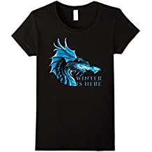 Winter is Here Blue Ice Flames Crystal Eyes Dragon T-Shirt