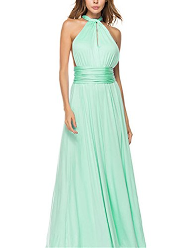 Mint Tie Waist Dress - PARTY LADY Women's Sexy V Neck Sleeveless Cold Shoulder Full Length Maxi Formal Party Dress Size M Mint Green