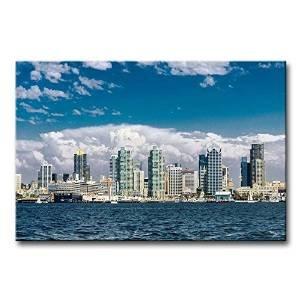 city landscape paintings wall art san diego skyline building by sea city single