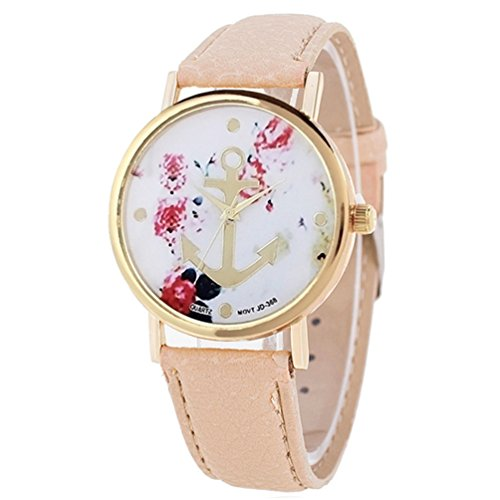 HITOP Vintage Retro Blume Damen Armbanduhr Basel-Stil Anker Blumen Lederarmband Quarz Uhr Top Watch khaki