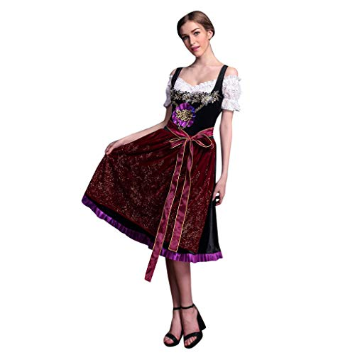 Womens Cute Sexy Vintage Dress Summer Outdoor Beer Festival Bavarian Short Sleeve Waitress Cosplay Costume Soft Dress (Red, L)