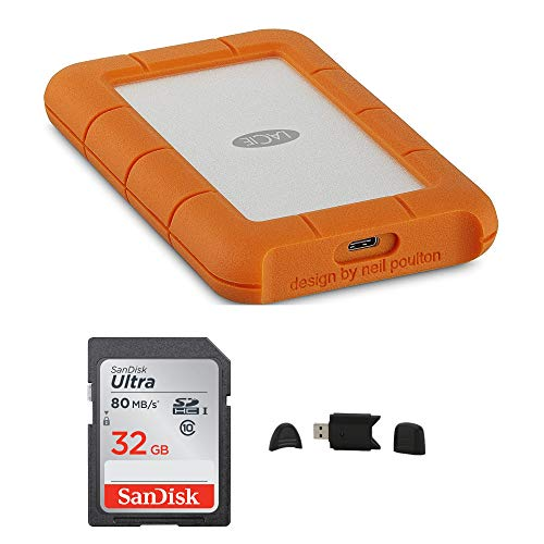 LaCie Rugged USB-C 4TB Portable External Hard Drive + SanDisk Ultra 32GB 80MB/s SD Card + MMC MultimediaCard & SD Secure Digital Reader USB Bundle