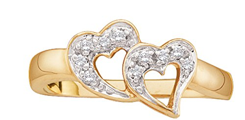 10kt Yellow Gold Womens Round Diamond Double Heart Love Ring 1/12 Cttw by JawaFashion