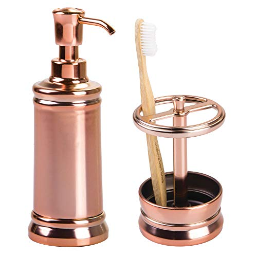 mDesign Decorative Metal Bath Accessory Set for Bathroom Vanity Countertops and Sinks, Rustproof - Includes Refillable Liquid Hand Soap Dispenser Pump, Toothbrush Holder - Set of 2 - Rose Gold