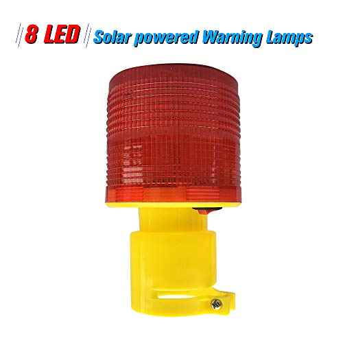 - Solar Warning Lights 8pcs LEDs Red Light Solar-Powered Warning Lamps Obstruction Lamp/Beacon Light/Traffic Warning Lights/Tower Crane Warning Light//Marine Lamp