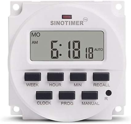 sahnah SINOTIMER 12V Weekly 7 Days Digital Programmable Timer Switch Relay Control