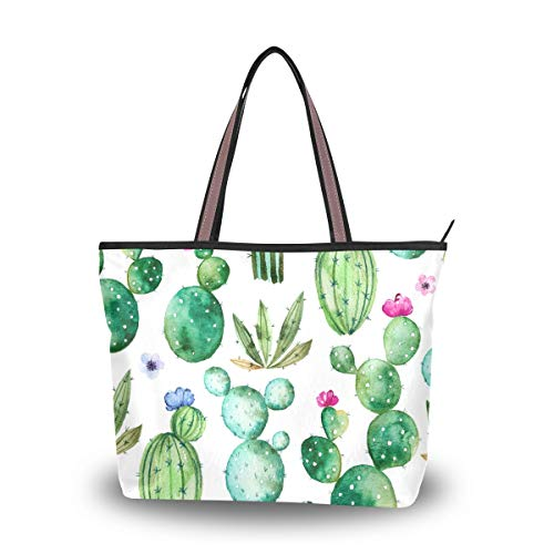 ZOEO Cactus Large Tote Bags Green Women Summer Handbags with Zipper Shopper Bag ()
