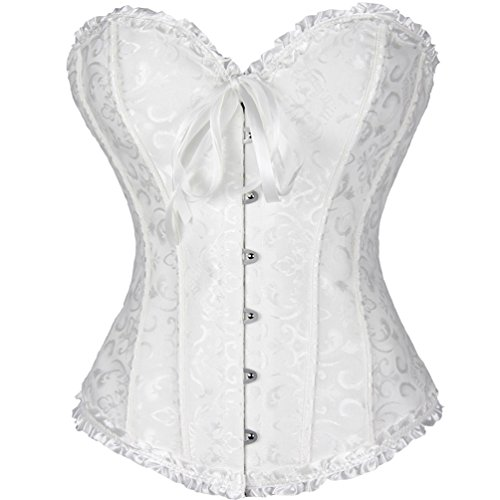 Plus Size Corsets Australia (Romady Women's Brocade Sweetheart Sexy Bustier Plus Size Corset Top XXXXX-Large White)