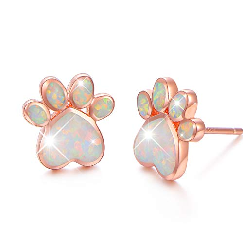 S925 Sterling Silver Jewelry Puppy Dog Cat Pet Paw Print Stud Earrings (Opal-Rose Golden)