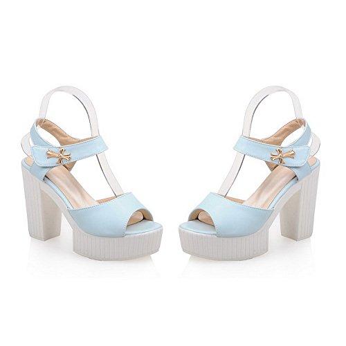 Amoonyfashion Mujer Solid Solid Material High-heels Hook-and-loop Peep-toe Sandalias Azul