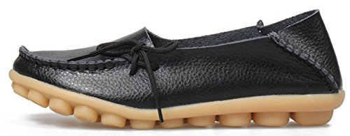 Joansam Dames Sportschoenen Rundleer Instappers Loafers Bootschoenen Flats Zwart