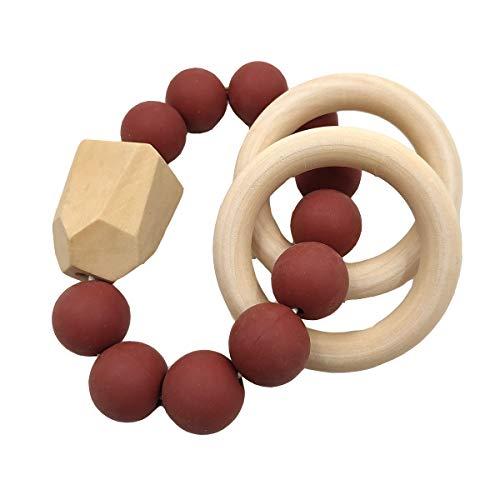 - Alenybeby 1pcs Maroon Baby Teething Bracelet Natural Wood Teether Ring BPA-Free Silicone Teething Beads Toy (Maroon)