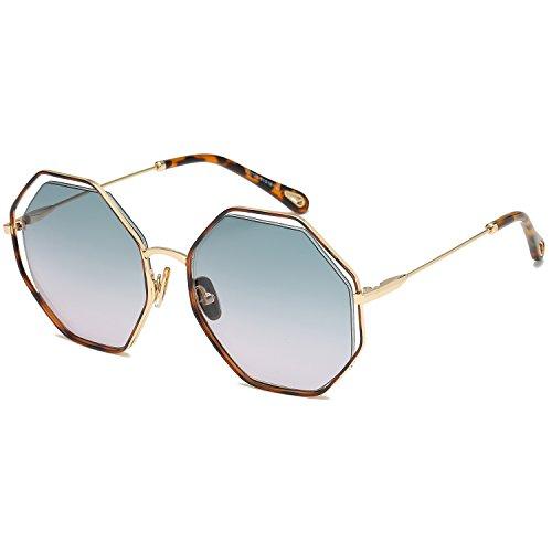 Mareine Lisa Hexagon Sunglasses Gorgeous Gradual Color Lens Metal Frame-Tortoise Frame/Gradual Green Lens -