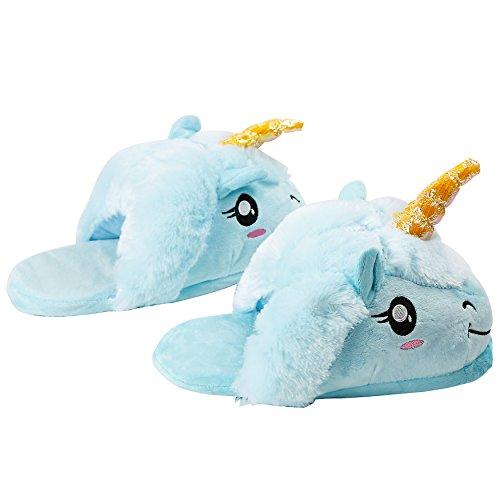 Pantofole Di Unicorno Di Peluche Adulto Adulto Ciabatte Invernali Calde Pantofole Di Casa Costume Pantofole Blu