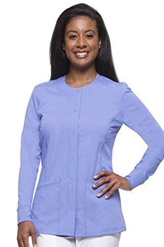 Round Neck Scrub Jacket - healing hands Purple Label Women's Daisy 5063 Snap Button Jacket Scrubs- Ceil Blue- L