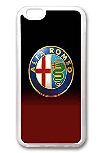 iPhone 6 Case - Clear Soft TPU Back Cover with Alfa Romeo Car Logo 1 Print for iPhone 6 Scratch-Resistant Clear Slim Fit Cover for iPhone 6 4.7 Inches