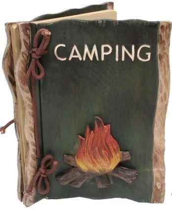 Camping Photo Album with Campfire (Real Carved Wood)