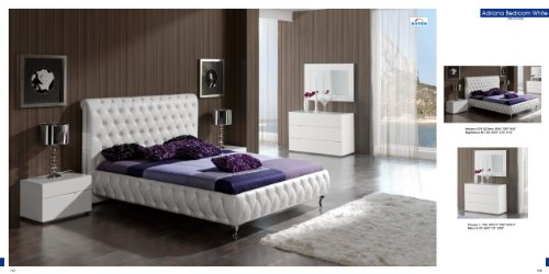 ESF Adriana White Leatherette & Lacquer Platform Bedroom Set - Queen Size