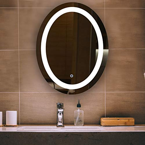CO-Z Dimmable Oval LED Bathroom Mirror, Plug-in Modern Lighted Wall Mounted Mirror - Framed Mirrors Led Bathroom
