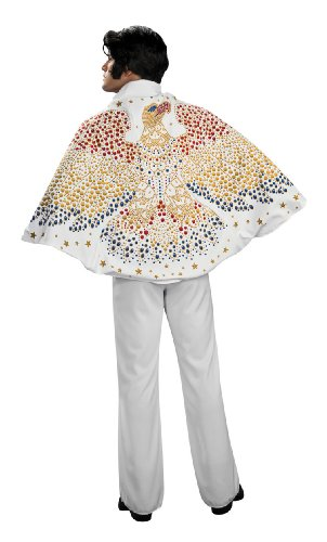 Elvis Cape with Eagle Design Costume, White, One - White Elvis Costume