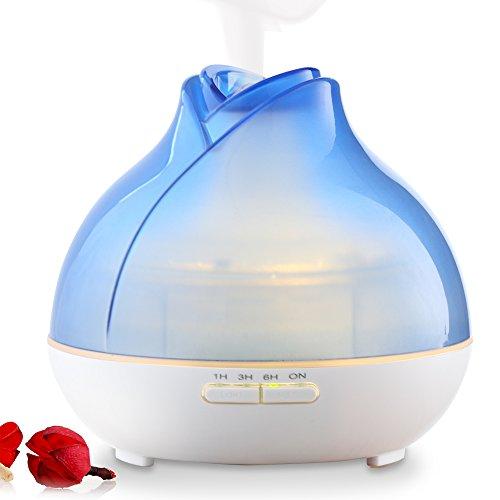 URPOWER difusor del aceite esencial, 300ml susurro tranquilo aire ultrasónico humidificador de niebla fría con respiración regulable, luz alta y baja la niebla, sin agua apagado automático para el bebé de Yoga sede