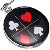"""P291 P291 Stainless Steel Playing Card Suit Circle Pendant and 20"""" Belcher Chain"""