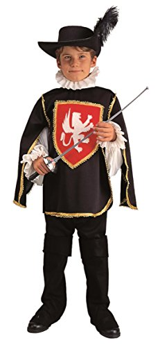 [Child Medium 8-10 for 6-8 Yrs - Black Muskateer Costume (Hat, Sword and Boots not included)] (8 People Costumes)