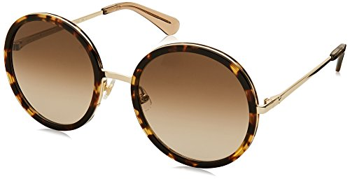 Kate Spade Women's Lamonica/s Round Sunglasses, HAVANA GOLD, 54 mm