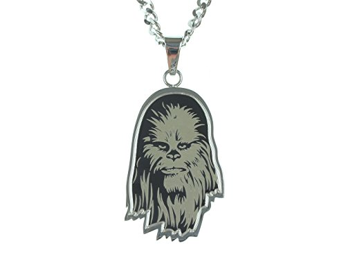 Star Wars Jewelry Unisex Etched Chewbacca Stainless Steel Chain Pendant Necklace, 24