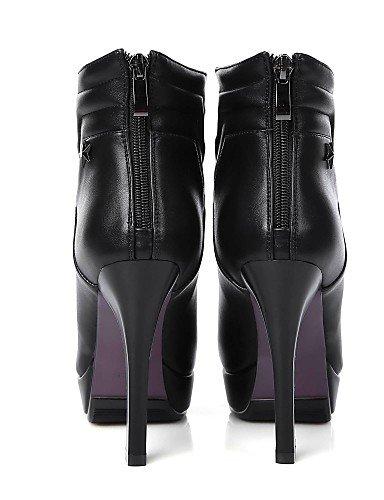Uk6 Cn39 us8 Cn37 Black Semicuero 7 Negro 5 Puntiagudos Moda Xzz Uk4 5 Eu37 Eu39 5 Stiletto Botas A Vestido Zapatos us6 La Mujer Black Tacón De FPqP7T61wa