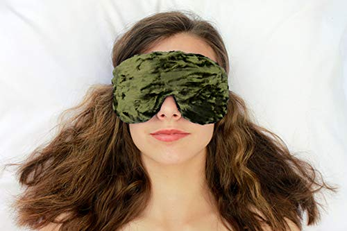 (Weighted Sleep Eye Mask Pillow Handmade by Candi Andi - Adjustable Strap - Travel - Flax Seed Fill - Microwavable - Crushed Velvet - Lavender Scented or Unscented - Olive - TEMVFL-OV)