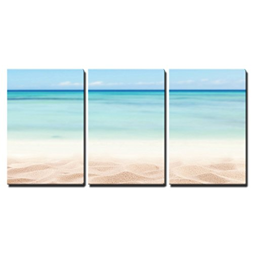 "Wall26-3 Piece Canvas Wall Art - Empty Sandy Beach with Sea. Free Space for Text or Product Placement - Modern Home Decor Stretched and Framed Ready to Hang - 24""x36\""x3 Panels"
