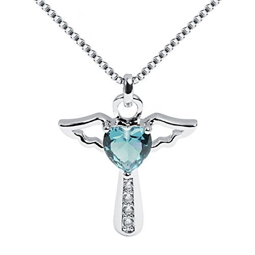 Ckysee Cross Cubic Zirconia Angel Wing Birthstone Heart Charm Pendant Necklace for Women Girls March- Aquamarine