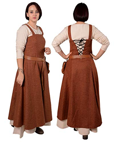 Anna - Medieval Viking Apron Overdress with Laced Back - Made in Turkey-ORN-M/L