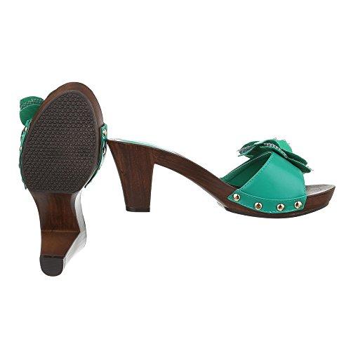 Ital-Design - zapatillas de baile (jazz y contemporáneo) Mujer Verde