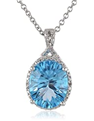 """Sterling Silver Swiss Blue Topaz and Diamond-Accented Oval Pendant Necklace, 18"""""""