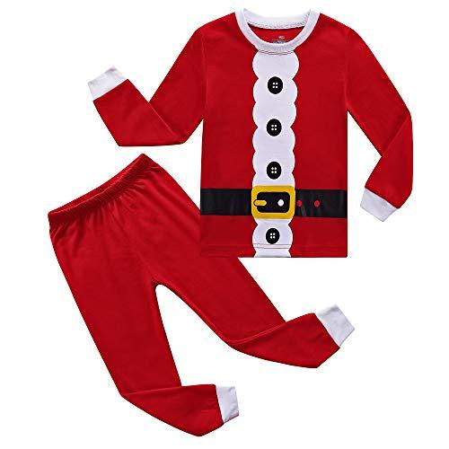 RKOIAN Little Boys Girls Pajamas Sets Toddler Santa Christmas Pjs 100% Cotton Kids Sleepwears (5, Red/Christmas)