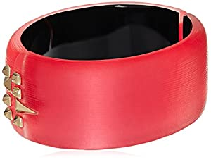 Alexis Bittar Golden Studded Hinge Cuff Bracelet Bangle, Coral, One Size