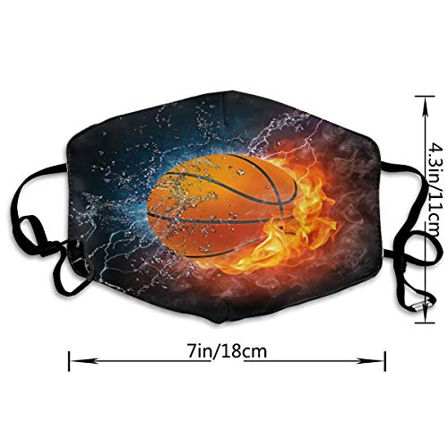 Dust Face Mask Basketball Ball On Fire Half Face Mouth-Muffle Fashion Motorcycle Anti Dust Costume Fashion Mask