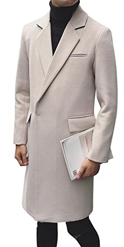 XQS Mens Lapel Long Sleeve Casual Long Woollen Coat Overcoat Beige XL