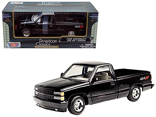 454ss Pickup (Motormax 1992 Chevy 454SS Pickup Truck 1/24 Scale Diecast Model Car Black)