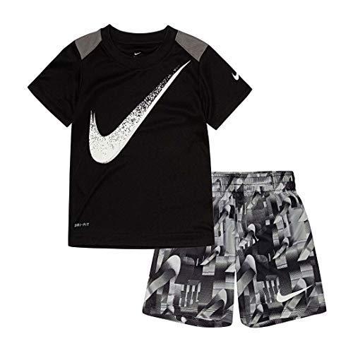 Nike Boy`s Dri-Fit T-Shirt & Shorts 2 Piece Set (Black(66E495-023)/White, 18 Months)