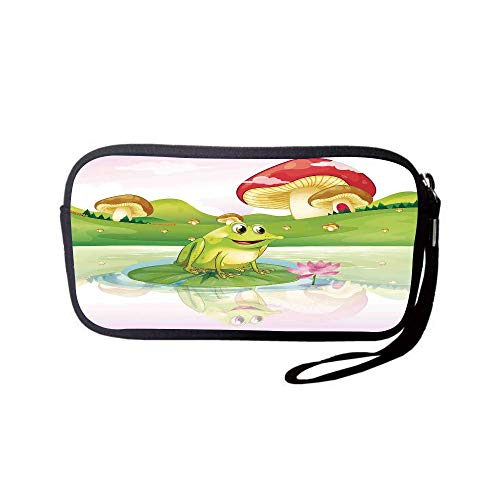 iPrint Neoprene Wristlet Wallet Bag,Coin Pouch,Animal Decor,Illustration of Cute Frog on Water Lily with Mushrooms on The Background Nature Lake Art Print,Multi,for Women and ()